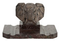 Decorative Arts, British:Other , FREDERICK BAZIN AFRICAN ELEPHANT AUTOMOBILE MASCOT . Length of base9 inches (22.9 cm). ...