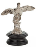 Decorative Arts, British:Other , ENGLISH SILVER PLATED BRONZE AUTOMOBILE MASCOT MODELED AS APHEASANT IN FLIGHT, CIRCA 1930 . Height of ornament 6-1/2 inches...