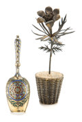 Silver & Vertu:Smalls & Jewelry, A RUSSIAN SILVER GILT AND PLIQUE À JOUR AND CLOISONNÉ ENAMEL SUGAR SCOOP WITH TIFFANY & CO. SILVER GILT POTTED FLOWER . Anti...