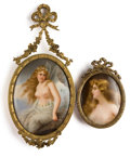 Ceramics & Porcelain, TWO GERMAN FRAMED PORCELAIN PLAQUES . Circa 1900. Larger plaque signed: San Tag; to back: MADE IN GERMANY, Oreade mac... (Total: 2 Items)