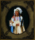 Decorative Arts, Continental:Other , A CONTINENTAL FRAMED PORCELAIN PLAQUE DEPICTING AN AMERICAN INDIAN. Unknown maker, possibly Germany, circa 1900. Marks: ...