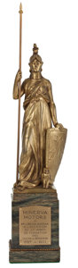 Decorative Arts, British:Other , DE SOETE GILDED BRONZE STATUETTE FOR MINERVA MOTORS, DATED 1922 .Overall height 15-1/2 inches (39.4 cm). ...