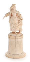 Paintings, A EUROPEAN IVORY FIGURE ON PEDESTAL . Probably French, circa 1880. 6-1/4 inches high (15.9 cm). ...