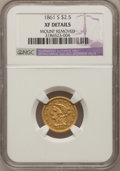Liberty Quarter Eagles: , 1861-S $2 1/2 --Mount Removed--NGC Details. XF. NGC Census:(11/62). PCGS Population (5/42). Mintage: 24,000. Numismedia Wsl...