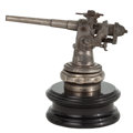 Decorative Arts, British:Other , UNIQUE STEEL AUTOMOBILE MASCOT MODELED AS A DECK CANNON, CIRCA 1930. Length of ornament 8 inches (20.3 cm). ...