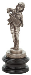 Decorative Arts, British:Other , FRENCH SILVERED BRONZE ACCORDION PLAYER AUTOMOBILE MASCOT, CIRCA1915 . Height of ornament 7-1/2 inches (19.1 cm). ...