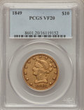 Liberty Eagles: , 1849 $10 VF20 PCGS. PCGS Population (0/347). NGC Census: (6/727).Mintage: 653,618. Numismedia Wsl. Price for problem free ...