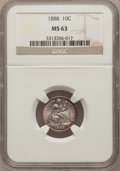 Seated Dimes: , 1888 10C MS63 NGC. NGC Census: (54/145). PCGS Population (60/137).Mintage: 5,495,655. Numismedia Wsl. Price for problem fr...
