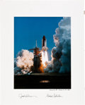 Autographs:Celebrities, Space Shuttle Columbia (STS-3) Crew-Signed Large ColorLaunch Photo Directly from the Personal Collection of Missi...