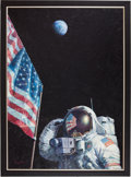 "Transportation:Space Exploration, Alan Bean Original 36"" x 46"" Painting of Apollo 16's John Young on the Moon. ..."