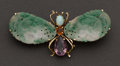 Estate Jewelry:Brooches - Pins, Gold, Jade & Gemstone Dragonfly Brooch. ...