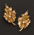 Estate Jewelry:Brooches - Pins, Gold & Diamond Leaf Earrings. ...