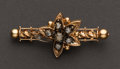 Estate Jewelry:Brooches - Pins, Early Victorian Rose Gold & Diamond Pin. ...