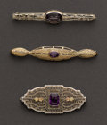 Estate Jewelry:Brooches - Pins, Three Antique Bar Pins. ... (Total: 3 Items)
