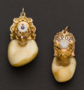 Estate Jewelry:Other , Two Gold Topped Elk's Tooth Fobs. ... (Total: 2 Items)