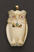 Estate Jewelry:Pendants and Lockets, Ivory, Gold, Ruby & Emerald Owl Pendant. ...