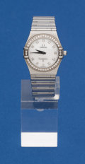 Timepieces:Wristwatch, Omega Ladies Steel Constellation With Diamonds Wristwatch. ...