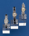 Timepieces:Wristwatch, Three - 14k White Gold Wristwatches One With A 14k Gold BandRunners. ... (Total: 3 Items)