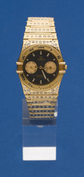 Timepieces:Wristwatch, Omega 18k Gold Constellation With Later Set Diamonds Wristwatch....