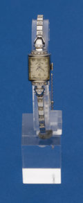 Timepieces:Watch Chains & Fobs, Elgin 14k White Gold Diamond Wristwatch With Gold Band. ...