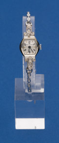 Timepieces:Wristwatch, Wittnauer 14k White Gold Wristwatch With A Gold Band. ...