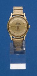 Timepieces:Pocket (post 1900), Omega Gold Top Steel Back Constellation Wristwatch. ...