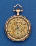 Timepieces:Pocket (post 1900), Gruen 14k Gold 12 Size With Enamel Pocket Watch. ...