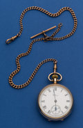 Timepieces:Pocket (post 1900), Waltham 9k Gold 16 Size With 9k Gold Chain. ...