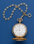 Timepieces:Pocket (post 1900), Waltham 21 Jewel 645 In A 14k Gold Hunter's Case With Gold PlatedChain. ...