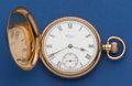 Timepieces:Pocket (post 1900), Waltham 9k Gold 16 Size Hunter's Case Pocket Watch. ...
