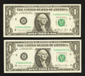 Error Notes:Miscellaneous Errors, Back Plate 129 Engraving Error Fr. 1912-H $1 1981A Federal Reserve Notes. Two Examples. Choice Crisp Uncirculated.. ... (Total: 2 notes)