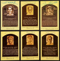 Baseball Collectibles:Others, Baseball Stars Signed Hall of Fame Plaque Postcards Lot of 6....