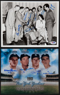 Baseball Collectibles:Photos, Yankees Legends Multi Signed Photographs Lot of 2....