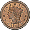 Large Cents, 1849 1C Doubled Die Reverse MS64 Red and Brown PCGS. N-8, R.2. MRB MS63+. ...