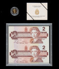 Canadian Currency: , BC-55cA $2 1986 Replacement Uncut Pair and 1996 $2 Proof PiedfortCoin Set.. ...