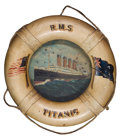 Paintings, R.M.S. TITANIC AND OLYMPIC ORIGINAL SOUVENIR LIFE BELTS: THE ONLY RECORDED PAIR . 8-1/2 inches diameter (21.6 cm) each. ...