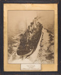 "Decorative Arts, British:Other , RARE WHITE STAR LINE PHOTOGRAPHIC POSTER DEPICTING ""OLYMPIC"" AS ATROOP CARRIER DURING WWI . Overall size within frame 29-1/..."