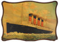 Decorative Arts, British:Other , R.M.S. LUSITANIA AND MAURETANIA TWO ORIGINAL LITHOGRAPH TINADVERTISING PLAQUES . 28 x 30 inches (71.1 x 76.2 cm). ... (Total:2 Items)