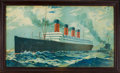 Decorative Arts, British:Other , CUNARD LINE S.S. AQUITANIA POSTER CIRCA 1914 . 21 x 37 inchesvisible (53.3 x 94.0 cm). ...