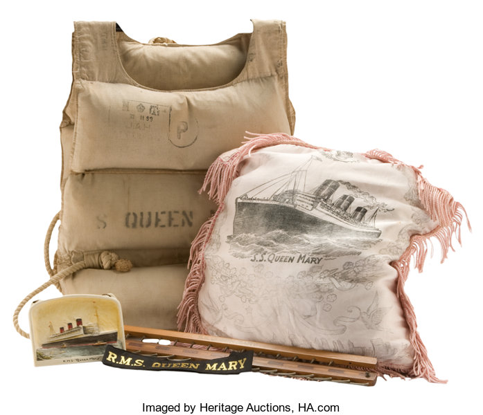 S S  QUEEN MARY LIFE JACKET AND MEMORABILIA COLLECTION   14 inches