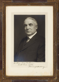PRESIDENT WARREN G. HARDING SIGNED BLACK AND WHITE CABINET PHOTOGRAPH IN ORIGINAL FRAME Image 10-1/2 x 7 inches (