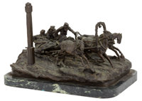 A RUSSIAN BRONZE FIGURAL GROUP AFTER VASSILI YACOVLEVICH GRACHEV: THE MILEPOST After Vassi