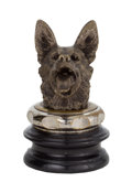 Decorative Arts, British:Other , E. BREGEON GERMAN SHEPHERD AUTOMOBILE MASCOT CIRCA 1920 . Height ofornament 4-1/2, overall height 8 inches (11.4 x 20.3 cm)...