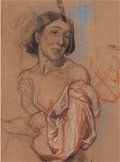 Fine Art - Work on Paper:Drawing, FROM THE ESTATE OF CHARLES MARTIGNETTE.. DEAN CORNWELL (American,1892-1960). Soulful Woman . Pastel and charcoal ...