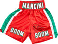 """Boxing Collectibles:Autographs, Ray """"Boom Boom"""" Mancini Signed Trunks. ..."""