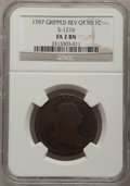 Large Cents, 1797 1C Reverse of 1795, Gripped Edge Fair 2 Brown NGC. S-121b. NGCCensus: (1/5). PCGS Population (1/34). Mintage: 897,510...