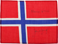 Transportation:Space Exploration, Gemini 10 Flown Flag of Norway Directly from the PersonalCollection of Mission Commander John Young, Signed and Certified....