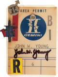 Transportation:Space Exploration, Gemini Area Permit Badge with Pins Directly from the PersonalCollection of Astronaut John Young, Signed. ...