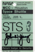 Transportation:Space Exploration, Space Shuttle Columbia (STS-3): John Young's Mission ControlCenter Badge Directly from His Personal Collection, S...