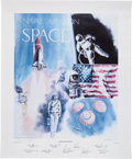 """Autographs:Celebrities, """"Naval Aviation in Space"""" Presentation Copy of the Limited Edition Lithograph Signed by Nine Naval Astronauts Directly from th..."""